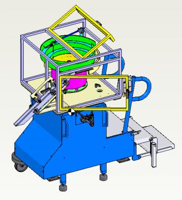 Bol vibrant réglable, sur châssis à roulettes escamotables, permettant l'alimentation de différentes machines d'usinage.