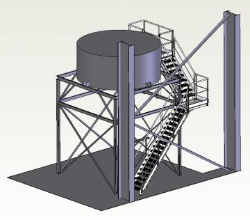 Étude, fabrication et chantier d'installation d'un escalier en inox sécurisant l'accès à une cuve aérienne dans l'agroalimentaire.